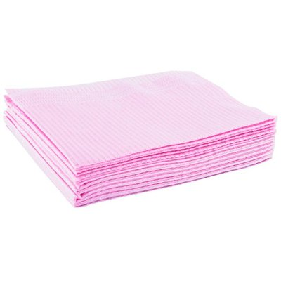 Table towel 50st paper/plastic Pink